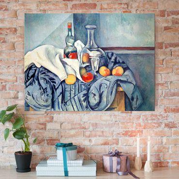 Glasbild - Kunstdruck Paul Cézanne - Stillleben mit Pfirsichen und Flaschen - Impressionismus Quer 4:3