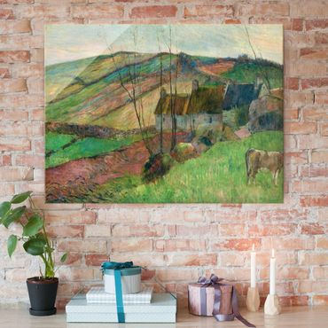 Glasbild - Kunstdruck Paul Gauguin - Bauernhäuser am Fuß des Mont Sainte-Marguerite - Post-Impressionismus Quer 4:3