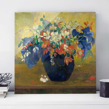 Glasbild - Kunstdruck Paul Gauguin - Blumen in einer Vase - Post-Impressionismus Quadrat 1:1