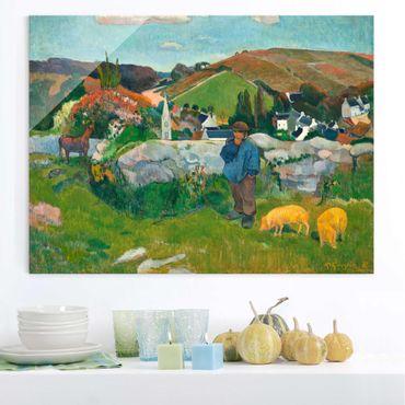 Glasbild - Kunstdruck Paul Gauguin - Der Schweinehirt - Post-Impressionismus Quer 4:3