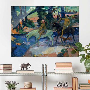 Glasbild - Kunstdruck Paul Gauguin - Die Furt (oder: Die Flucht) - Post-Impressionismus Quer 4:3