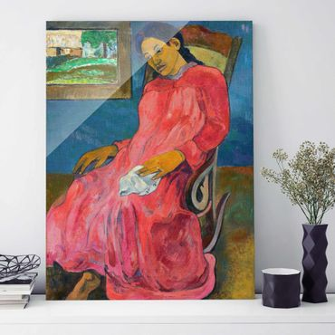 Glasbild - Kunstdruck Paul Gauguin - Melancholikerin - Post-Impressionismus Hoch 3:4