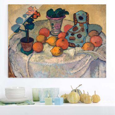 Glasbild - Kunstdruck Paula Modersohn-Becker - Stillleben mit Orangen und Steingut-Hund - Quer 4:3