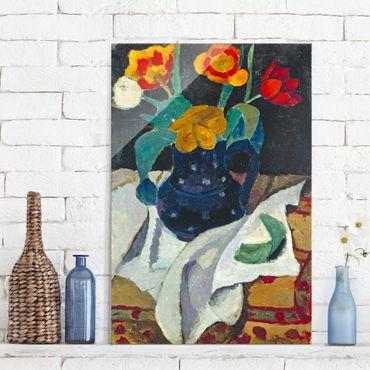 Glasbild - Kunstdruck Paula Modersohn-Becker - Stillleben mit Tulpen in blauem Topf - Hoch 2:3