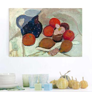 Glasbild - Kunstdruck Paula Modersohn-Becker - Stillleben mit blauem, weißgetüpfeltem Krug (II) - Quer 3:2