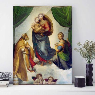 Glasbild - Kunstdruck Raffael - Die Sixtinische Madonna - Hoch 3:4