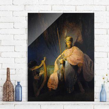 Glasbild - Kunstdruck Rembrandt van Rijn - David spielt die Harfe vor Saul - Hoch 3:4