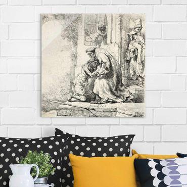 Glasbild - Kunstdruck Rembrandt van Rijn - Die Rückkehr des verlorenen Sohnes - Quadrat 1:1
