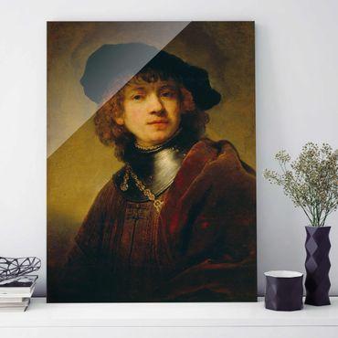 Glasbild - Kunstdruck Rembrandt van Rijn - Selbstbildnis - Hoch 3:4