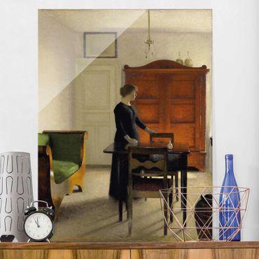 Glasbild - Kunstdruck Vilhelm Hammershoi - Ida in einem Interieur - Hoch 3:4