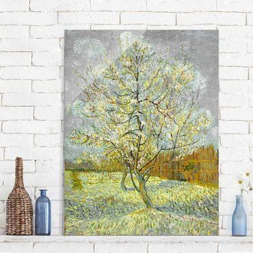 Glasbild - Kunstdruck Vincent van Gogh - Blühender Pfirsichbaum (rosa) - Post-Impressionismus Hoch 3:4