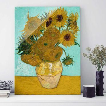 Glasbild - Kunstdruck Vincent van Gogh - Vase mit Sonnenblumen - Post-Impressionismus Hoch 3:4