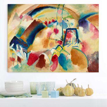 Glasbild - Kunstdruck Wassily Kandinsky - Landschaft mit Kirche (Landschaft mit roten Flecken I) - Expressionismus Quer 4:3