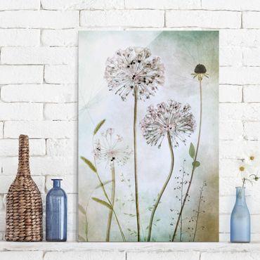 Glasbild - Lauchblüten in Pastell - Hochformat 3:2