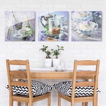 Glasbild - Lavendel Set Vintage 3-teilig
