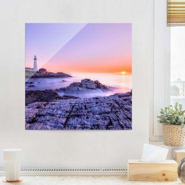 Glasbild - Leuchtturm am Morgen - Quadrat 1:1