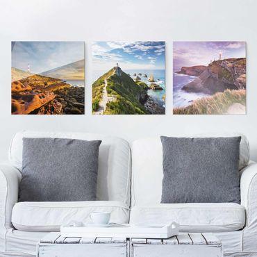 Glasbild Leuchtturm Collage mehrteilig - 3-teilig