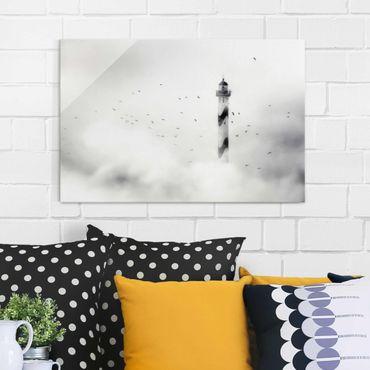 Glasbild - Leuchtturm im Nebel - Quer 3:2