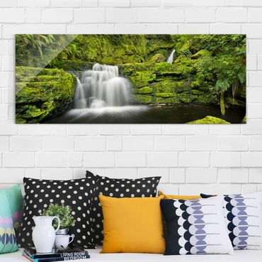 Glasbild - Lower McLean Falls in Neuseeland - Panorama