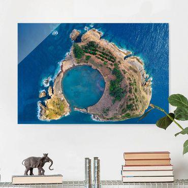 Glasbild - Luftbild - Die Insel Vila Franca do Campo - Querformat 2:3