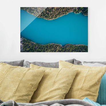 Glasbild - Luftbild - Tiefblauer See - Querformat 2:3