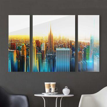 Glasbild Manhattan Abstrakt mehrteilig - 3-teilig