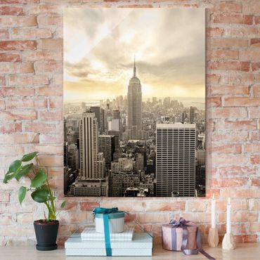 Glasbild - Manhattan Dawn - Hoch 3:4