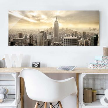 Glasbild - Manhattan Dawn - Panorama Quer