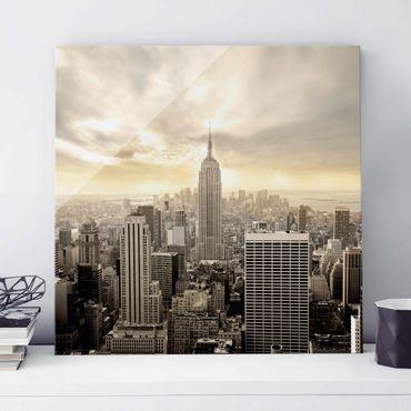 Glasbild - Manhattan Dawn - Quadrat 1:1