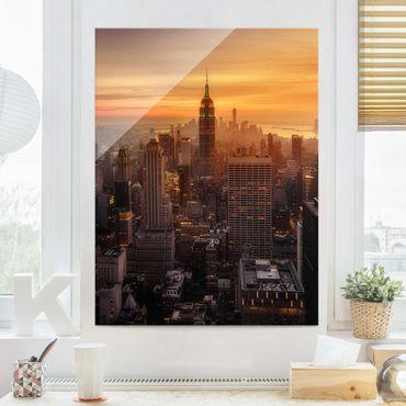 Glasbild - Manhattan Skyline Abendstimmung - Hochformat 4:3