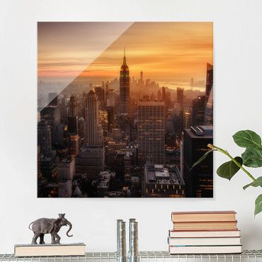 Glasbild - Manhattan Skyline Abendstimmung - Quadrat 1:1