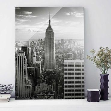 Glasbild New York - Manhattan Skyline - Hoch 3:4
