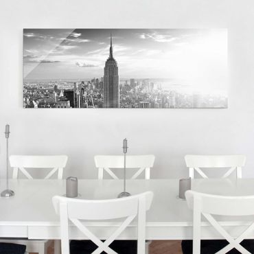 Glasbild - Manhattan Skyline - Panorama Quer
