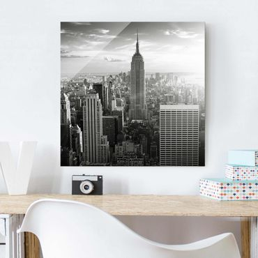 Glasbild - Manhattan Skyline - Quadrat 1:1