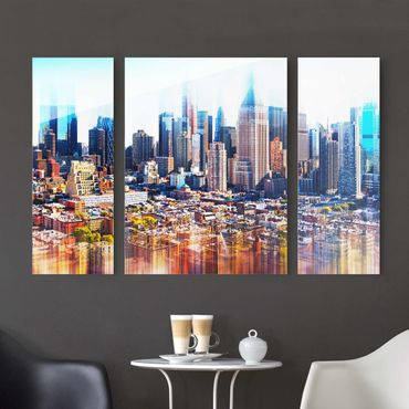 Glasbild Manhattan Skyline Urban Stretch mehrteilig - 3-teilig