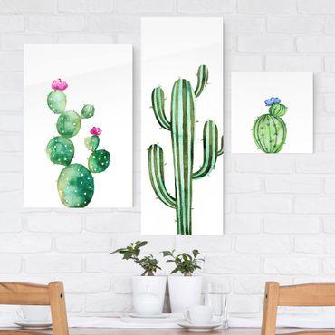 Glasbild mehrteilig - Aquarell Kakteen Set - Collage 3-teilig