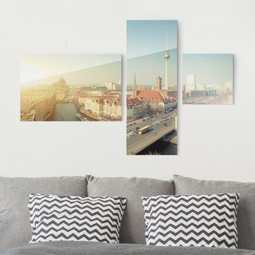 Glasbild mehrteilig - Berlin am Morgen Collage 3-teilig