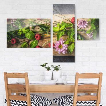 Glasbild mehrteilig - Blumen Himbeeren Minze 3-teilig