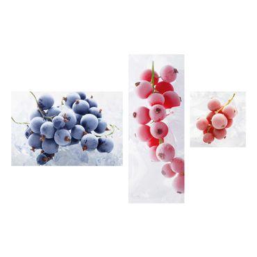 Glasbild mehrteilig - Gefrorene Beeren - Collage 3-teilig