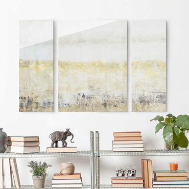 Glasbild mehrteilig - Goldene Farbfelder I - 3-teilig