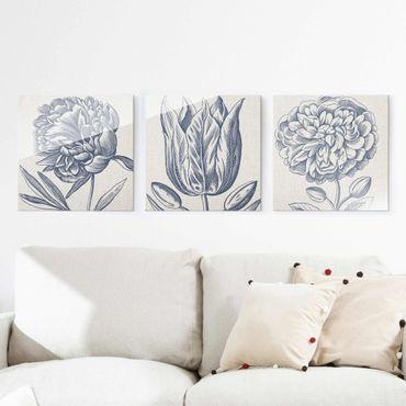 Glasbild mehrteilig - Indigo Blüte auf Leinen Set I - 3-teilig