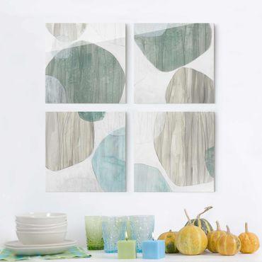 Glasbild mehrteilig - Jadesteine Set II - 4-teilig