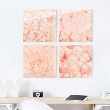 Glasbild mehrteilig - Rosa Blütenzauber - 4-teilig