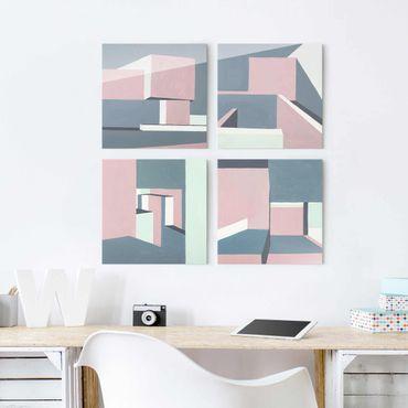 Glasbild mehrteilig - Schatten der Wände Set II - 4-teilig