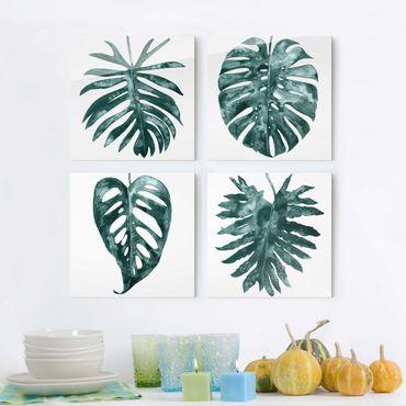 Glasbild mehrteilig - Smaragdgrüne Blätter Set I - 4-teilig