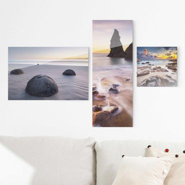 Glasbild mehrteilig - Sonnenaufgänge am Strand Collage 3-teilig