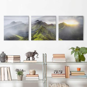 Glasbild mehrteilig - Storkonufell Island - 3-teilig