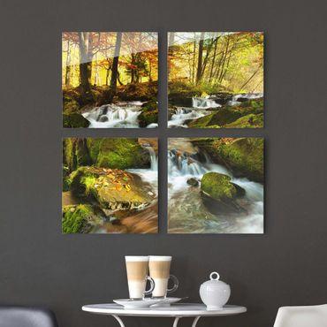 Glasbild mehrteilig - Wasserfall herbstlicher Wald 4-teilig - Waldbild Glas