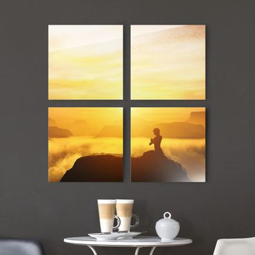 Glasbild mehrteilig - Yoga Meditation 4-teilig - Waldbild Glas