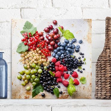 Glasbild - Mischung aus Beeren auf Metall - Quadrat 1:1
